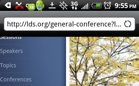 LDS General Conference URL on Android Phone